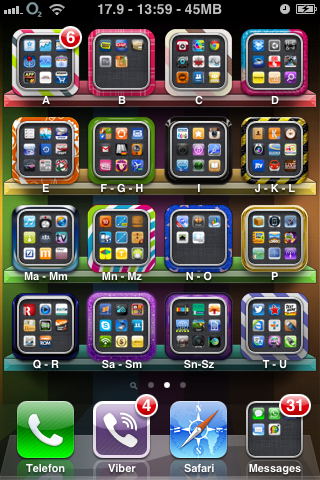 iPhone Apps sorted alphabetically in categories